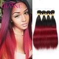 4 Bundles Deal Brazilian Burgundy Ombre Color Hair Weave 7A Virgin Brazilian Straight Hair Luxury Wine Red 99J Human Hair Weft