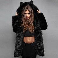 Hot Sale Female Faux Fox Fur Coat Lady Ears Cartoon Hooded Plush Jacket Faux Rabbit Fur