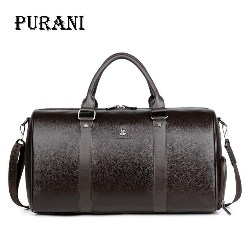PURANI Men Travel Bag for Luggage Men Genuine Leather Duffel Bag Suitcase Carry on Luggage Bags Big Weekend Bags Travel Duffle mealivos men travel bag for luggage overnight travel bag carry on duffel with shoe pouch duffel bags big weekend bags