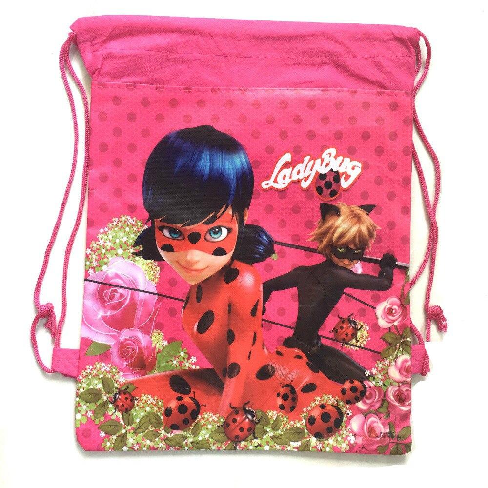20pcs Anime Printing gift Bag Miraculous Ladybug Backpacks Marinette Cat Noir for Children Fashion Girls Kids Custom Made Bag