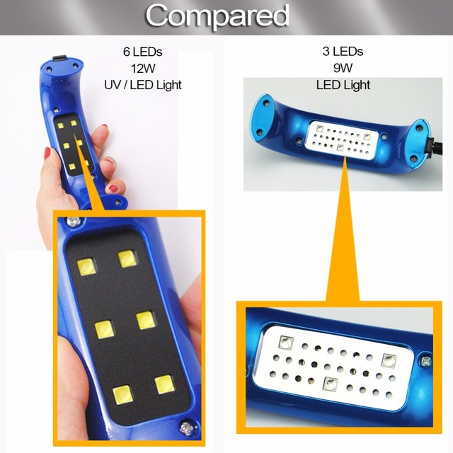 12W / 9W Mini LED UV Lamp for Nails Dyer Gel Polish Drying Led Lamp Gel 3/6 Leds UV Nail Dryers Manicure Machine Nail Art Tools