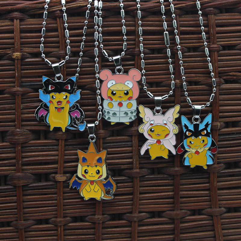 Pokemom anime hot sale Fashion Pikachu Necklace Cute Jewelry Dragon alloy Necklace gift for children