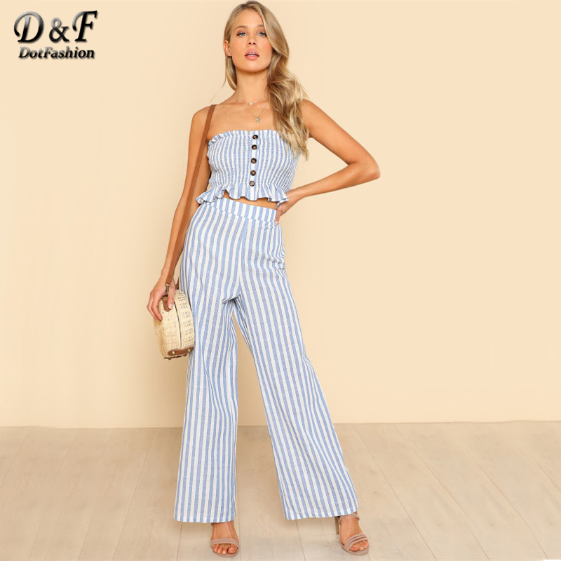 f357229a36 Dotfashion Shirred Ruffle Hem Strapless Top   Pants Set Blue and White  Striped Sleeveless Top with
