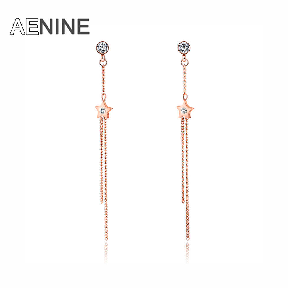 AENINE Personality Simple Mini Five-pointed Star Earrings Female Long Section Line Earrings Temperament Wild Jewelry OGE364
