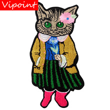 embroidery chenille cats patches for jackets,cats cartoon badges jeans,applique coats A247
