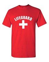 Gildans Vestiti di Marca Slim Fit Stampa Unisex Maglietta di Modo Bagnino Rosso o Bianco Tee YMCA Piscina Personale Tshirt
