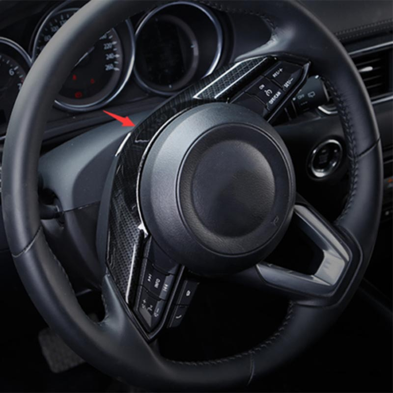 For <font><b>Mazda</b></font> <font><b>CX5</b></font> 2016-2018 Steering Wheel Trim Carbon Fiber Decor Cover <font><b>Accessory</b></font> image