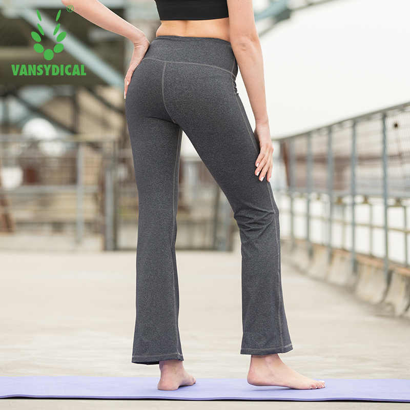 3a7ac3c299 ... Vansydical Women Yoga Pants Running Leggings Sport Gym Training Flared  Pants Solid High Waist Pants Sexy ...