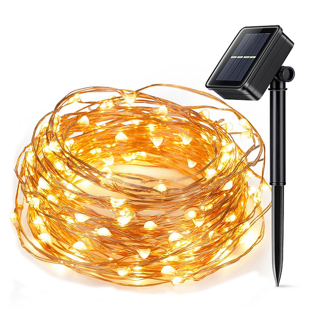 LED String Lights 10M 100 LEDs Solar Powered Copper Wire Fairy ...