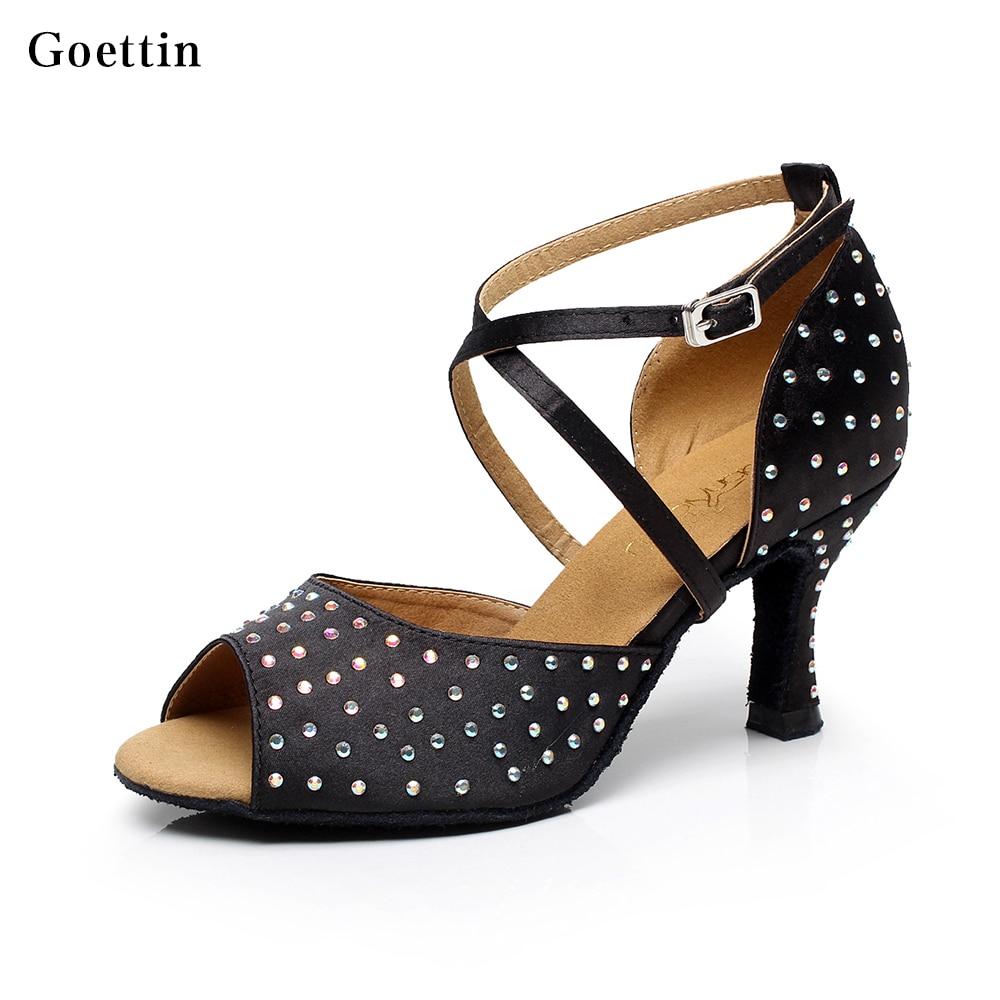 Satin Berlian Imitasi Sepatu Dansa Latin Sepatu Hak Tinggi Sandal Wanita 7,5 cm