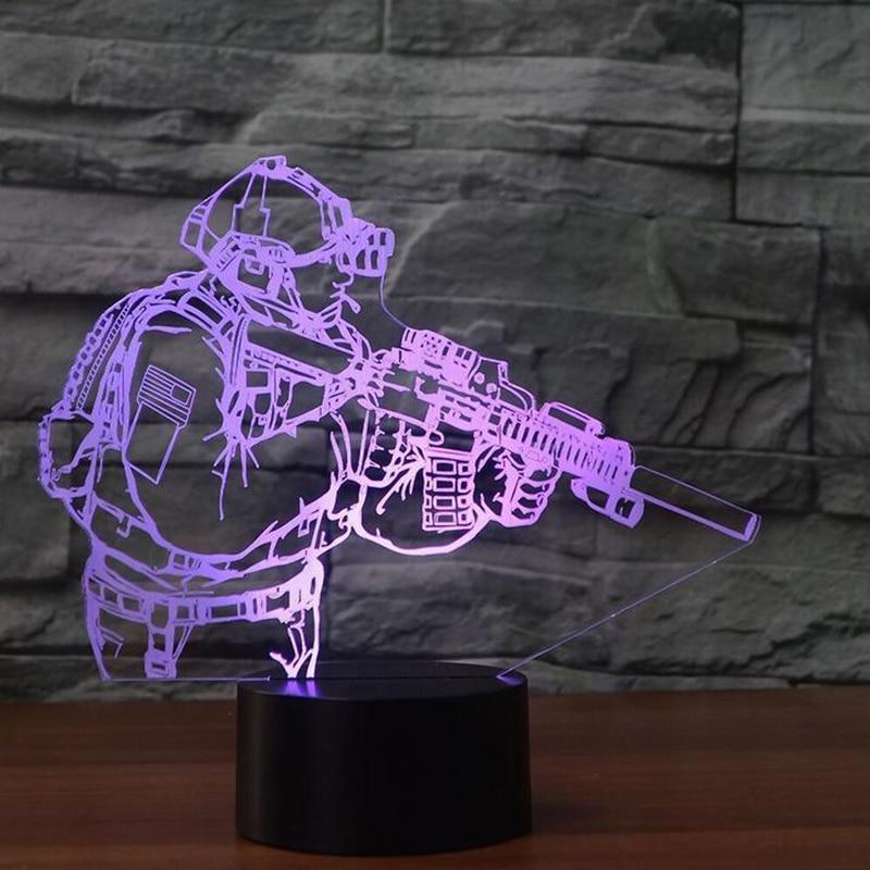 3D Table Lamp LED Novelty Acrylic Soldier Modelling USB Figure Shape Nightlight Decor 7 Colors Indoor Baby Sleep Lighting Gifts