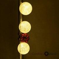 2 2 Metre 20 Globes White Lantern Handmade Cotton Balls Fairy String Lights Home Decor Party