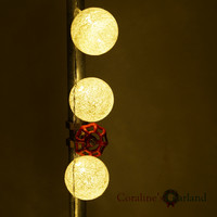 2 2 Metre 20 Globes White Lantern Handmade Cotton Balls Fairy String Lights Home Decor Party