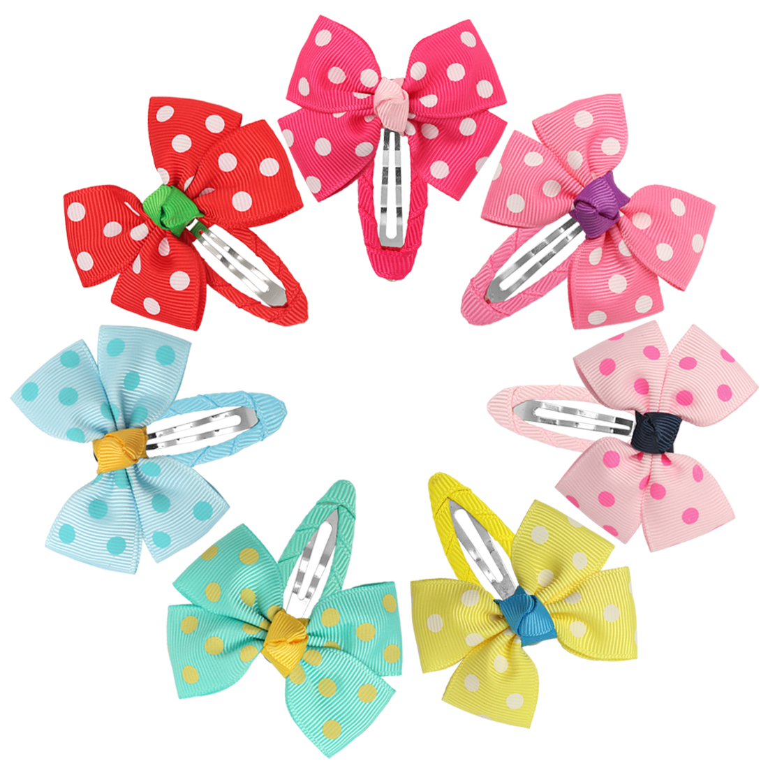 2.5inch Grosgrain Ribbon Hair Bows With Clips 7Pairs 14pcs Solid Color With White Dot Hairclip Hair Bows With BB Clips
