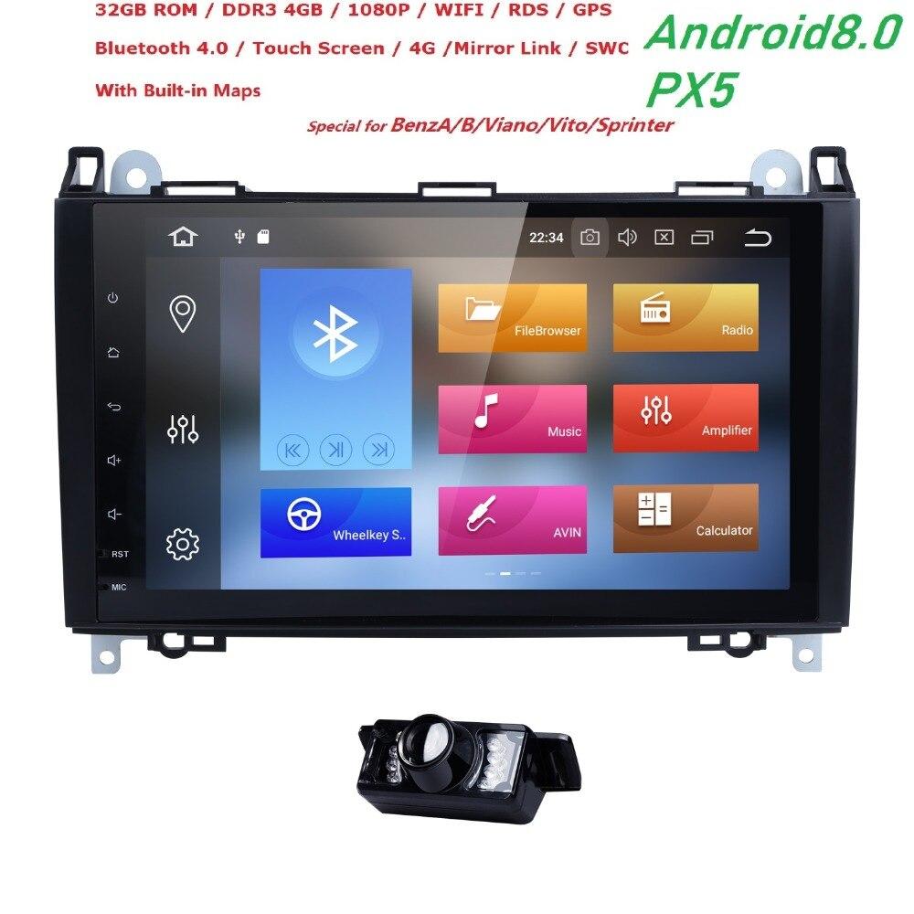 2din Android 8.0 Octa Núcleo NODVD Carro Para Benz Viano Vito Sprinter W169 W245 W906 W639 B200 com WIFI GPS rádio navegação 4G RAM