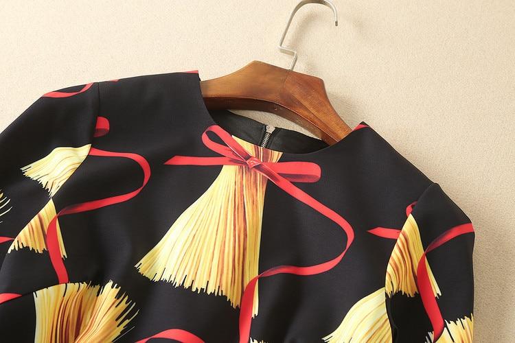 Femmes Été Mode Imprimer De Longues Texture Automne Rond 4xl Nouvelle Color Haute Qualité Piste Marque Manches 2018 S Et Col Robe Tissu Photo shtQdrC