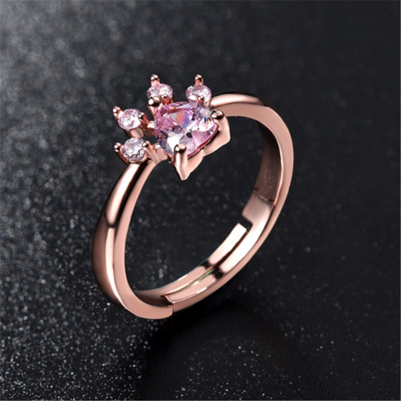 Aspiring 2018 Cute Bear Paw Dog Claw Opening Adjustable Ring Rose Gold Rings For Women Romantic Wedding Pink Crystal Cz Love Jewelry Gift Crease-Resistance