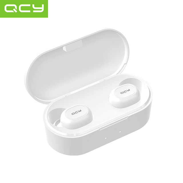 2019 QCY T2C Mini Bluetooth Earphone dengan MIC Headphone Nirkabel Olahraga Earphone Kebisingan Membatalkan Headset dan Pengisian Kotak