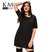 Kissmilk Women Plus size Black Punk Style Metal Ring Choker Short Sleeves Loose Solid Party Mini A Line Dress 4XL 5XL 6XL