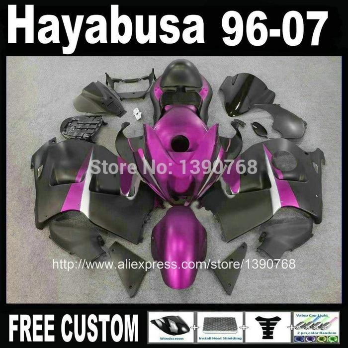 7 бесплатные Пластиковые подарки набор для Suzuki хаябуса GSXR1300 1996-2007 фиолетовый обтекатели черный ABS обтекатель комплект + бак 99-07 CQ66