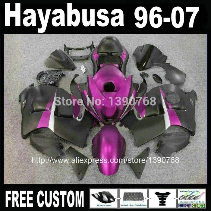 7 free gifts Plastic  set for SUZUKI hayabusa fairings GSXR1300 1996-2007 purple black ABS fairing kit + tank  99-07 CQ66