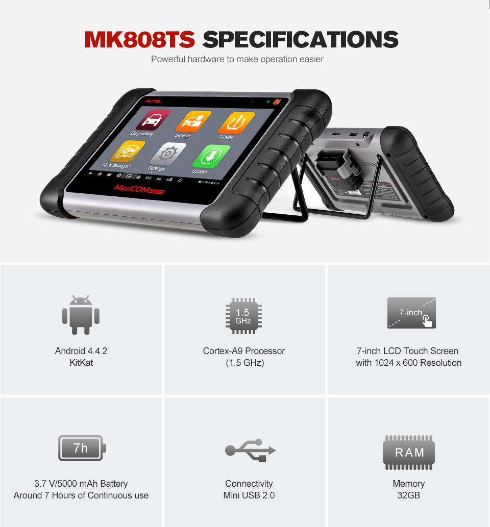 Image 4 - Original Autel Maxicom MK808TS Professional Automotive Diagnostic Tool TPMS Relearn Reset Programming Car Scanner Auto Scan Tool-in Engine Analyzer from Automobiles & Motorcycles on