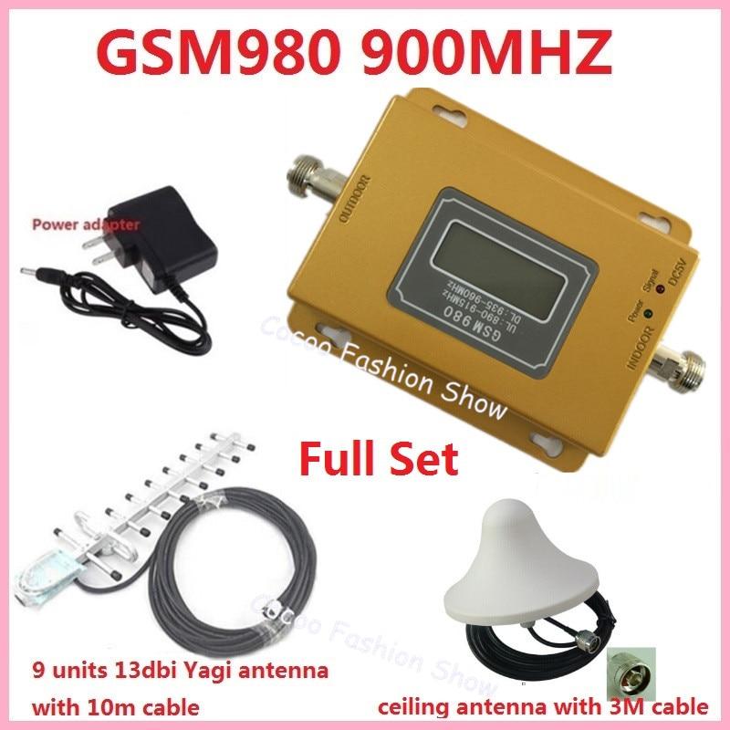 Amplificateur de Signal de répéteur de téléphone portable sans fil de 70dB LCD GSM 900 MHz, amplificateur de Booster de Signal de téléphone portable + antenne extérieure d'intérieur
