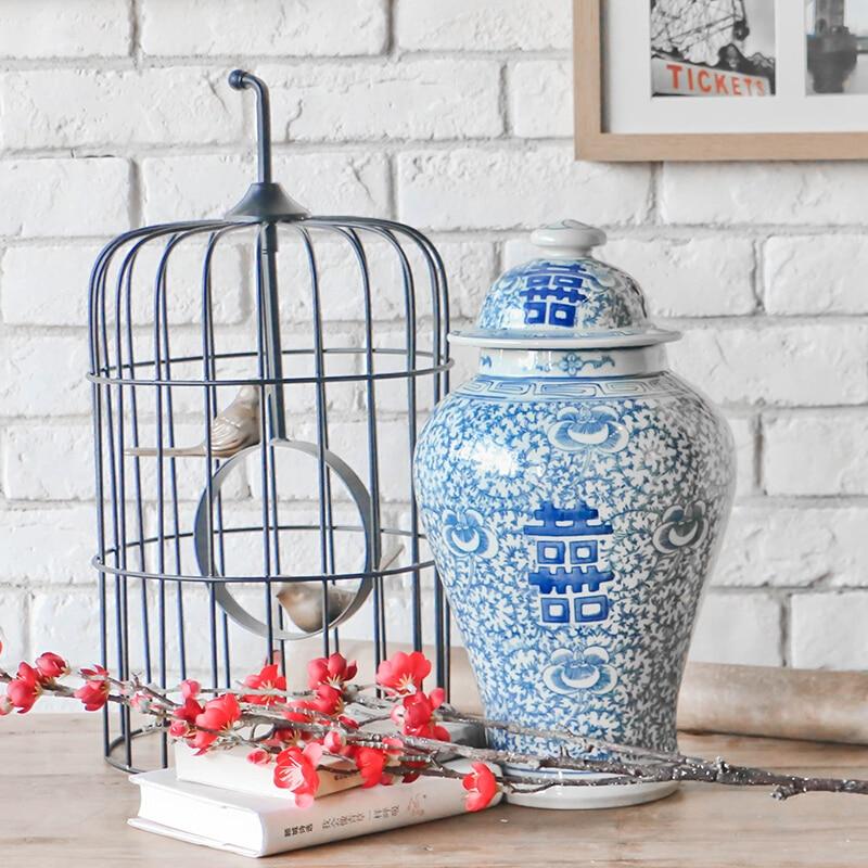 Ķīniešu mazumtirdzniecības ar rokām apgleznotas zilas un baltas - Mājas dekors