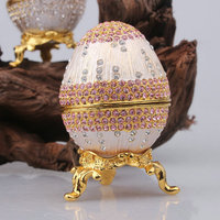 Russian Style Trinket Egg Faberge Decorative Jewelry Box with Czech Crystal Decoration Halloween Egg Gift