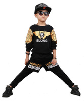 Kids Hip Hop Clothing For Boys 2 Pieces Set Wing Printing Teenage Boys Clothes Set 12