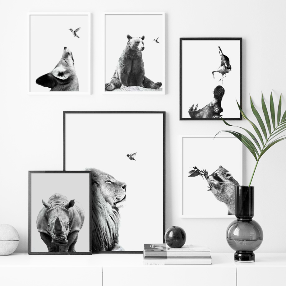 Black White Lion Bear Wolf Rhinoceros Wall Art Canvas Painting Nordic Posters And Prints Wall Pictures For Living Room Decor in Painting Calligraphy from Home Garden