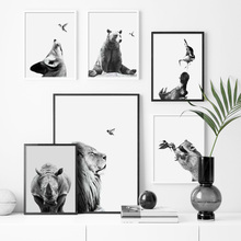 Black White Lion Bear Wolf Rhinoceros Wall Art Canvas Painting Nordic Posters And Prints Pictures For Living Room Decor