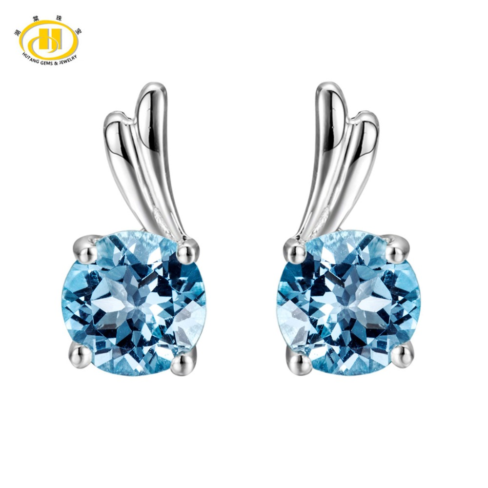 Hutang Round 6.0mm Sky Blue Topaz Solid 925 Sterling Silver Stud Earrings for Women Fine Jewelry Wing Earrings For Women Gift jewelrypalace halo 2 6ct swiss blue topaz stud earrings 925 sterling silver fine jewelry new earrings for women party gift