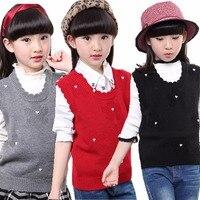Niñas de Punto Chaleco Rojo de La Flor Infant Toddler Crochet Suéteres Jerseys Otoño Blanco Ahueca Hacia Fuera Los Niños Prendas de Punto Fino Sin Mangas Abrigos