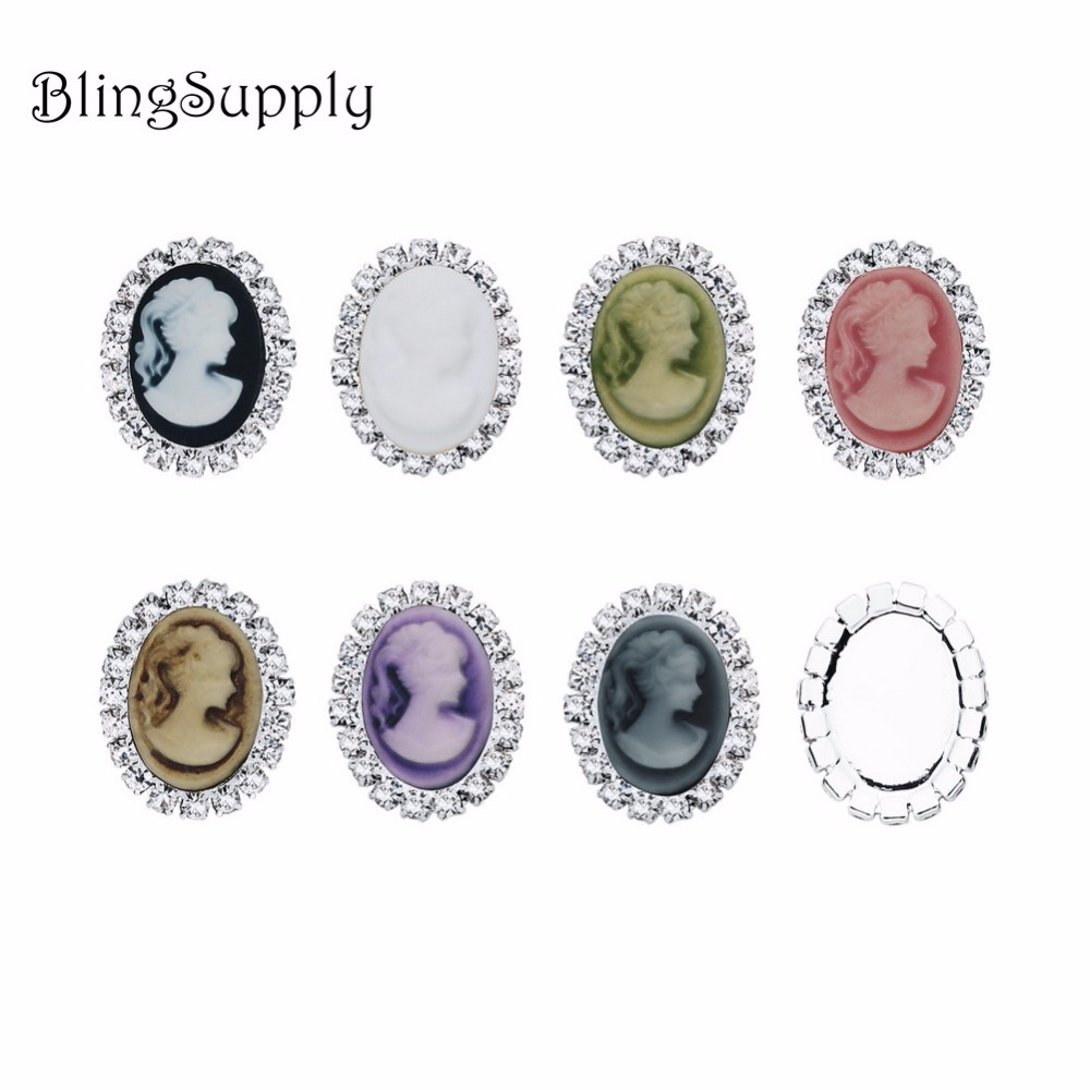 Free shipping 19 24mm oval cameo rhinestone button flatback can choose colors 10PCS lot BTN 5659 in Buttons from Home Garden