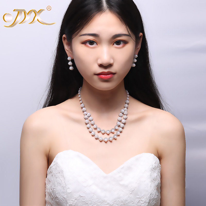 JYX Pearl Bridal Jewelry Set 5.5-6.5mm White Flat Round Freshwater Pearl Necklace & Earrings Set 16.5 classical malachite green round shell simulated pearl abacus crystal 7 rows necklace earrings women ceremony jewelry set b1303