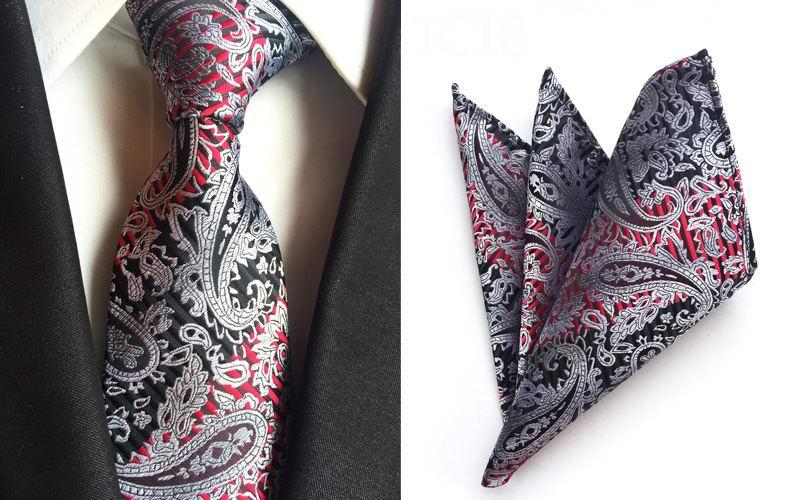High Quality Necktie Set Paisley Black White Red Silk Mens Tie Jacquard Woven Ties Gravata Neckties Pocket Square Suit Set