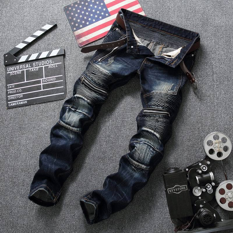 Dropshipping Ripped Biker Hole Jeans Cotton Black Slim Stretchy Straight Fit Jeans Men Motorcycle Vintage Distressed Denim Pants high quality mens ripped biker jeans 100% cotton black slim fit motorcycle jeans men vintage distressed denim jeans hzijue