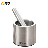ORZ 304 Stainless Steel Garlic Press Grinder Mortar Pestle Pedestal Bowl Kitchen Garlic Pepper Spice Grinder Mill Pugging Pot