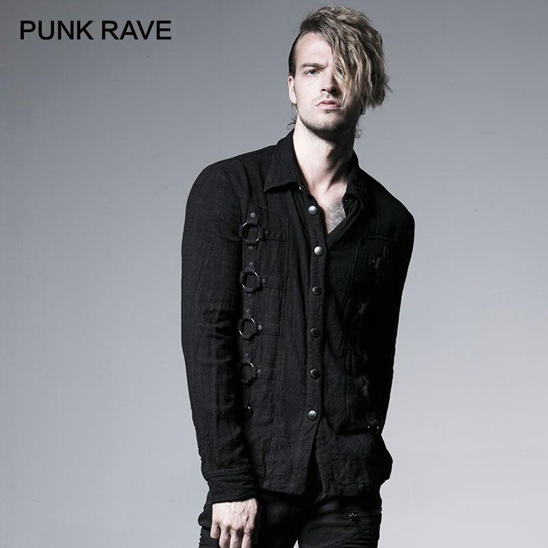 Панк рейв Рок Мода Curde зерна панк тяжелый Винтаж Металл с железным обручем для мужчин черный топ рубашка