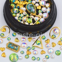 Mixed sizes  metal Nail Art Decoration Glitter 3D  Rhinestones pearls frame nail supplies jewelry beauty Manicure DIY tools #3