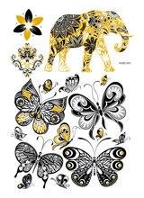 HUBS043 Gold Golden Tatuagem Taty Body Art Temporary Tattoo Stickers Metallic Glitter Elephant Butterfly Tatoo Sticker