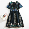New 2016 autumn winter fashion women luxury floral embroidery dress sexy v-neck bow tie short sleeve a-line casual dresses black