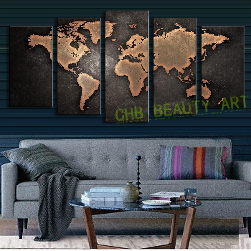 5 pcsset modern wall art painting vintage world map canvas 5 pcsset modern wall art painting vintage world map canvas painting for living room home decor picture unframed in painting calligraphy from home gumiabroncs Choice Image
