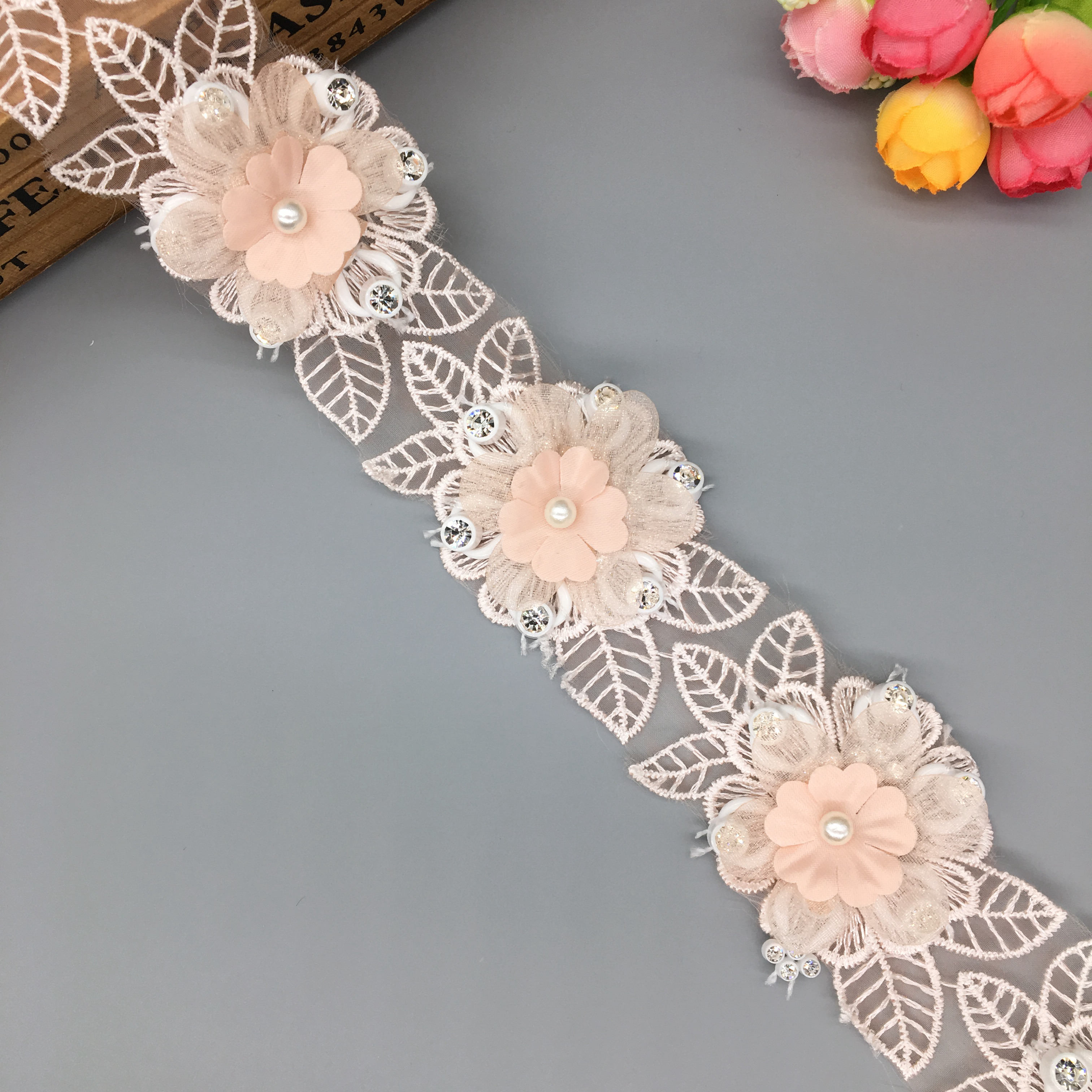 1 Yard Pearl Flower Lace Trim Embroidery Decorative Ribbon Sewing Applique