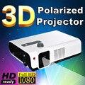 Лучший Читать 3D imax hd с двумя объективами 2700 ANSI Лм накладные портативный светодиодный поляризованных 3d-проектор для домашнего кинотеатра, КТВ, кафе