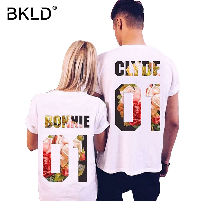 BKLD Hot Sale 2018 Summer Style Causal Couples T-shirt Short Sleeve O-neck Printed Tees Bonnie Clyde 01 Funny Lovers Shirts S-XL