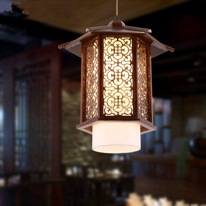 Chinese style antique coffee carved wood art Pendant Lights Nostalgic brief design lamp for balcony&corridor&porch&stairs MYR009 tradition chinese style carved wood art pendant lights retro countryside house lamp for bar