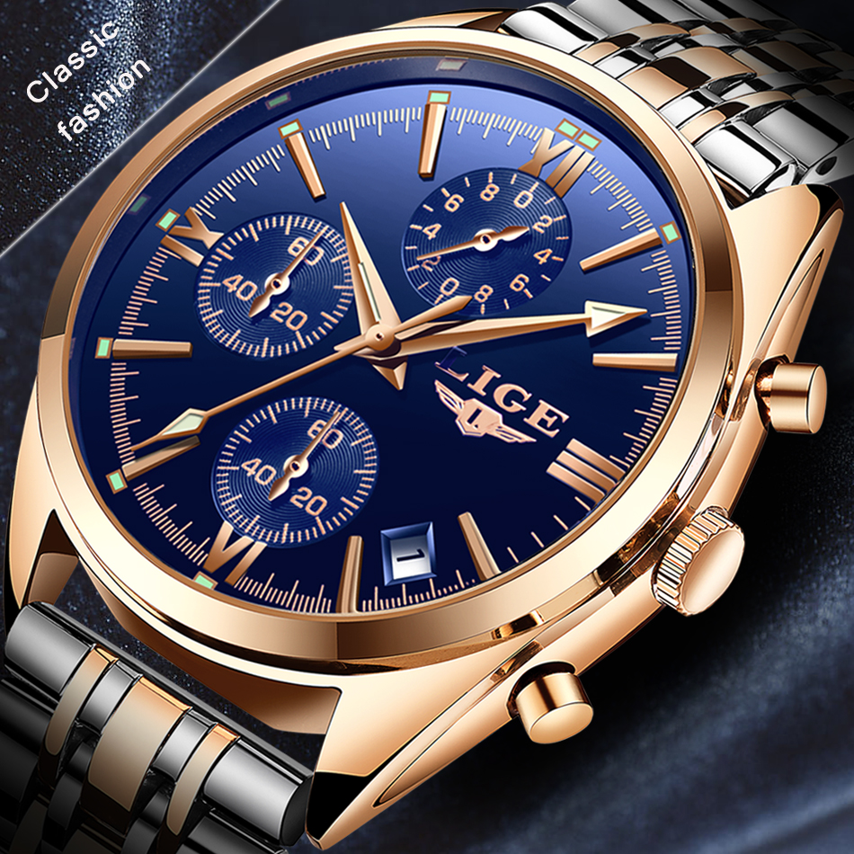 2018 LIGE Men Top Luxury Brand Casual Stainless steel gift Men Sports Watches Waterproof square Quartz Watch Relogio Masculino