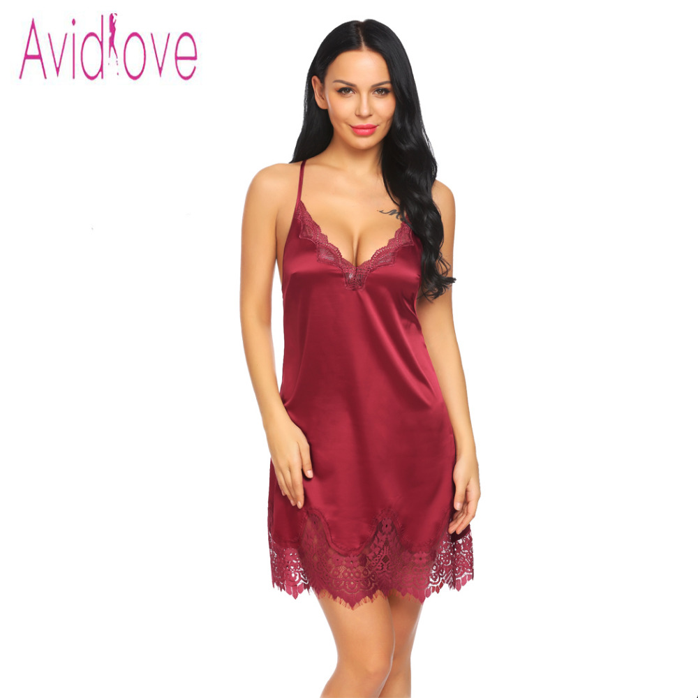 Avidlove Night Dress Women Satin Sexy Lingerie Lace Backless Babydoll Chemise Sleepwear Nightgown Nightwear lenceria